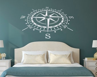 Wall Decal Nautical Compass Rose Wall Decor North South West East- Compass Wall Art- Compass Wall Decal  Living Room Nautical Bedroom C079