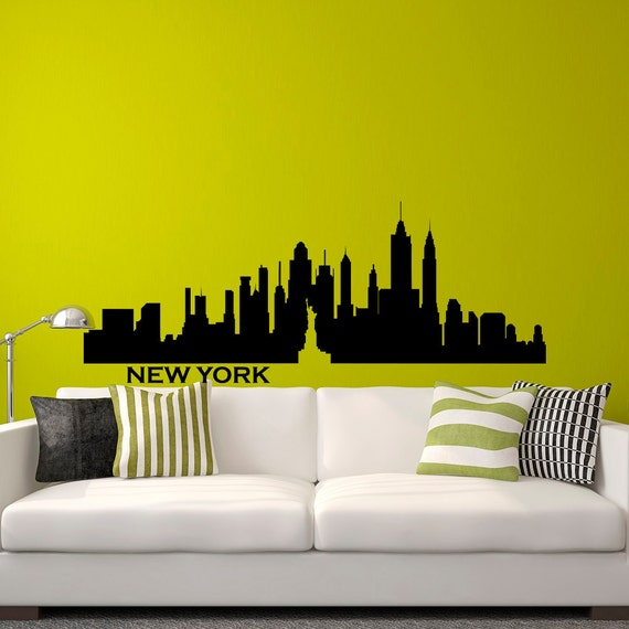 New york skyline nyc wall decal city silhouette new york scape for Sticker mural new york