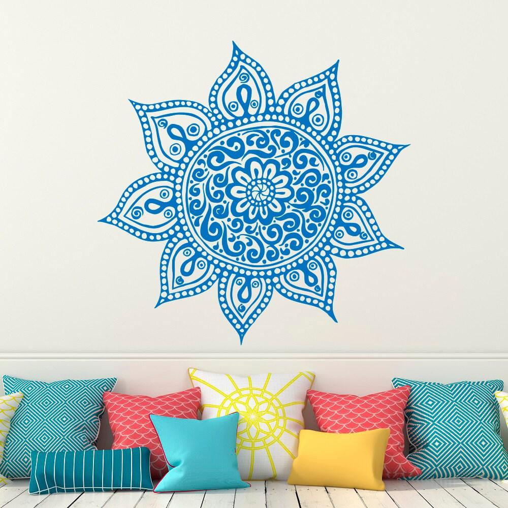 Yoga Studio Wall Decor : Wall decal mandala vinyl sticker lotus flower yoga decals