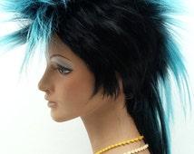 Black and Light Blue Mohawk Wig. Men's Punk Rock Wig. Costume Wig. [09-54-Mohawk-1TLBlue]