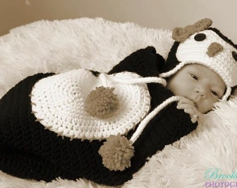 Penguin Baby Set, hat and cocoon