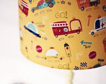 Cars lampshade, nursery decor, nursery lampshade, trucks bedroom, handmade, vehicle nursery, lampshade, boys lampshade, fire engine, bedroom