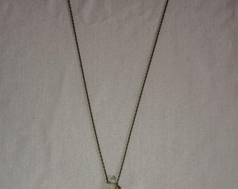 Single Clear Quartz Crystal x Antique Gold Chain