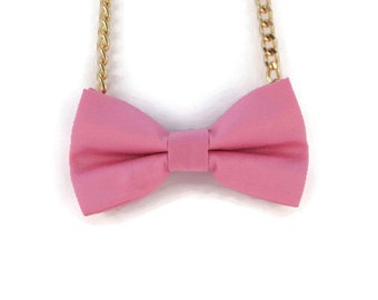 Pink Bow Tie Necklace - Bow Jewelry, Accessories, Statement Necklace - Easy No Tie Bow Tie - Great for Office, Wedding - Pink Lemonade