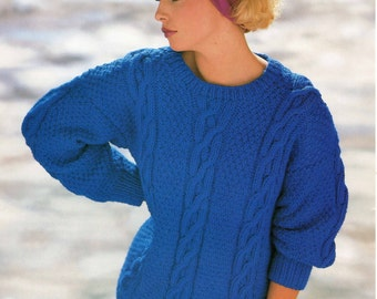 Ladies Knitting Pattern - Chunky Cable Knit Sweater - 30 to 40 inches