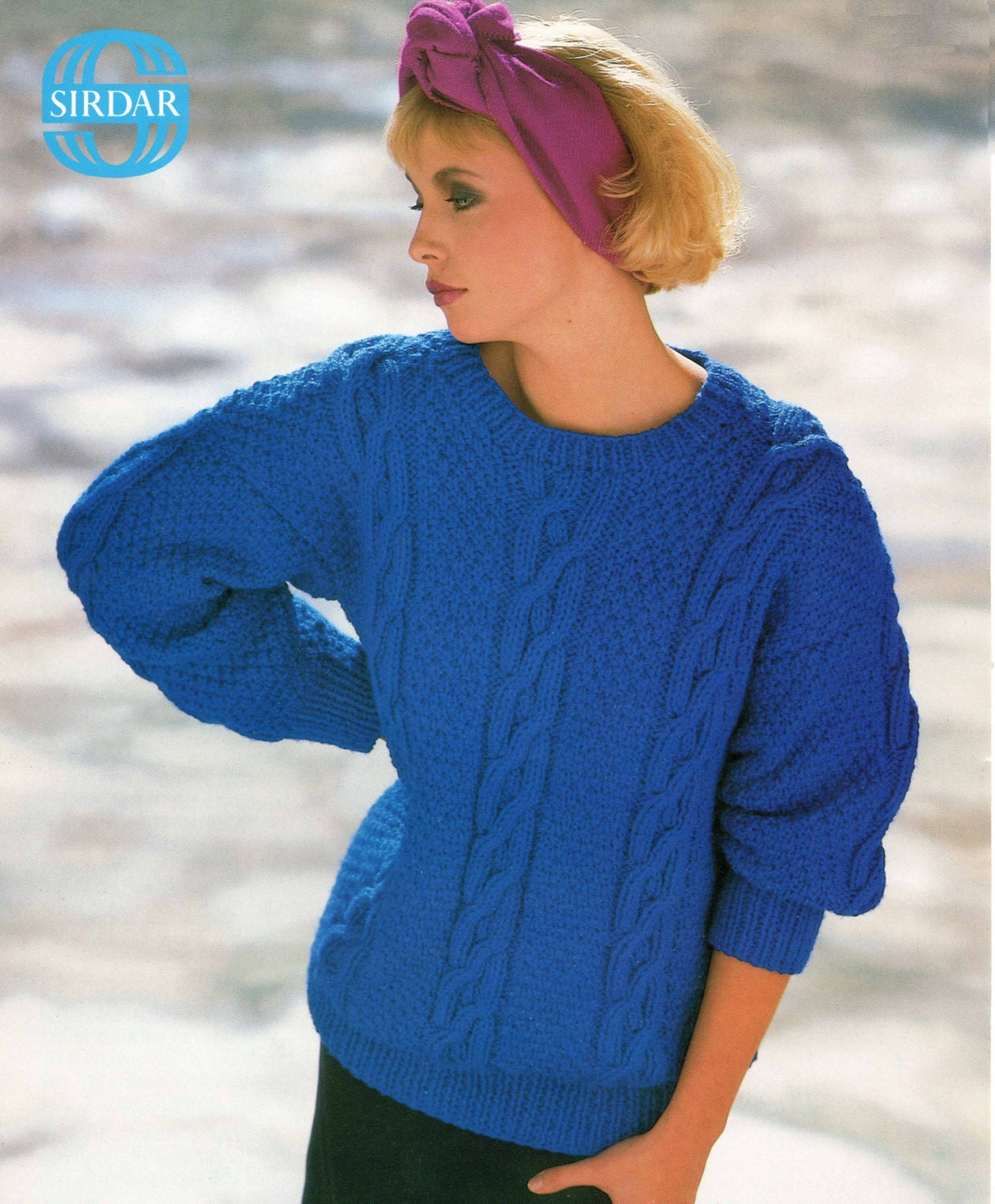 Ladies Knitting Pattern Chunky Cable Knit Sweater 30 to 40