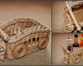 Wicker Basket for Condiments (condiment caddy)