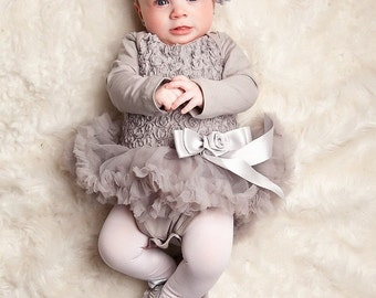 2pc Baby Tutu Dress Outfit Onesie Grey Silver Pettiskirt With Bow Headband