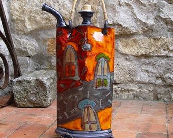 Colorful Ceramic Vessel, Iron Anniversary Gift, Decorative Pottery Teapot with Iron Elements, Kitchen Decor, Handmade Pottery, Danko Pottery