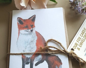 Pack of four Red Fox cards. pack of cards. hand painted fox. Recycled cards. wildlife gift. Christmas gift.