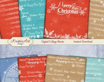 75% OFF SALE Christmas background - Digital Collage Sheet Digital Cards C133 Printable Download Image Tags Digital Atc Cards Christmas ACEO