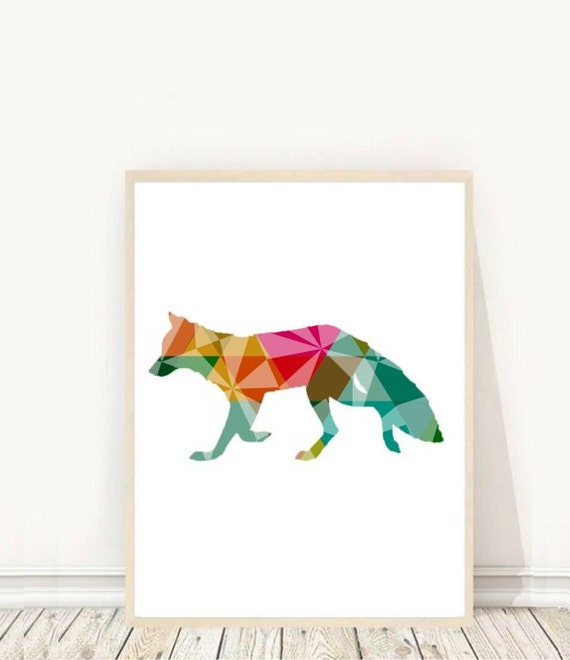 Nursery Wall Art Geometric Fox Print Printable Art Fox