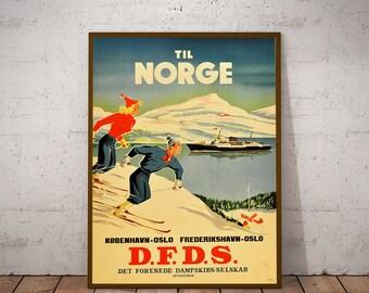 Norway Travel Poster Norway Tourism Print