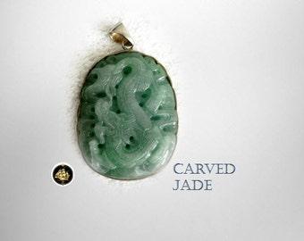 Jade vintage large carved pendant with dragon design - silver frame