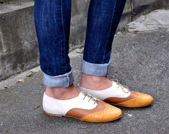 Venice - Women Oxfords, Brown Leather Shoes, Custom Shoes, Summer Shoes, Flat shoes, multicolor oxfords,  FREE customization!!!