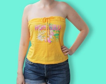 90s Yellow Strapless Top - Vaporwave Hawaiian Tropical Tube Top - Club Kids Holidays Neon Top - Clueless Summer Cropped Festival Top