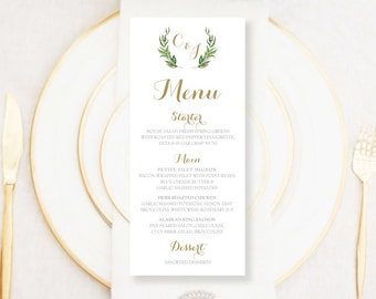 Personalised Printable Wedding Menu Card, Kate Collection - WCA93