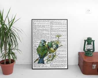 Birds Dictionary print, Vintage dictionary print, two birds on a branch