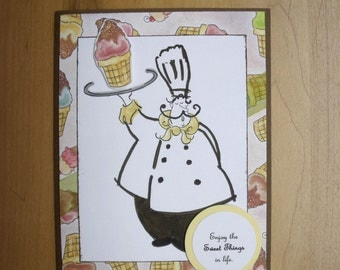 Sweetest Day Card with Chef and Ice Cream Cones