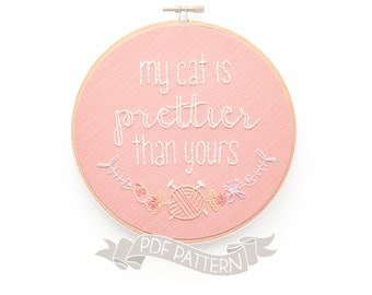 Embroidery Pattern. PDF Download. Cat Hoop Art. DIY Gift for Cat Lovers. Crazy Cat Lady Design. Needlecraft Kits. Kitten Embroidered Decor