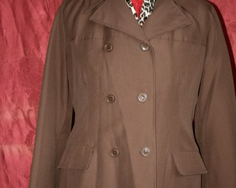 SANRO Melbourne TRENCH COAT 1960's Chocolate brown Size 14AU
