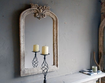"BAROQUE MIRROR ,vintage,aged "" limestone"" 24 inches high"