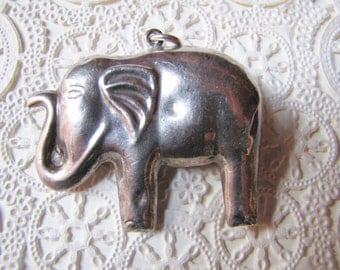 Vintage Silver Asian Elephant Pendant, Chunky Sterling Elephant Pendant,  Elephant Raised Trunk, Good Luck Symbol, Jewelry Supply