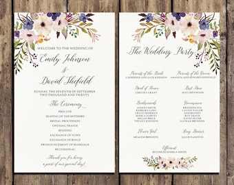 Wedding program printable, Bohemian Pink and Blue Floral Wedding Program Boho Watercolor Flower Ceremony Program Printable digital files
