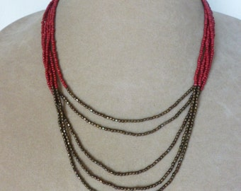 Multistrand Seed Bead Necklace, Red Seed Bead Necklace, Metallic Seed Bead Necklace, Multistrand Necklace, Small Beaded Necklace