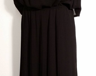 New Vintage Speigel's Black Dress With Pleated Skirt and Attached Open Back Top Size M