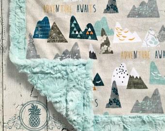 MInky Baby Blanket -Designer Adventure Mountains MInky - Sea Glass Hide
