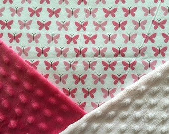 Personalized Minky Baby Blanket, Pink Butterfly Minky Baby Blanket
