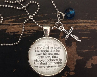 "John 3:16 ""for God so loved the world..."" pendant with 24"" ball chain, vintage silver color."