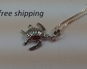 Sterling silver turtle pendant with moving parts