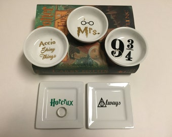 Harry Potter ring dish 3.5 inch round dish or 4inch square dish engagement gift