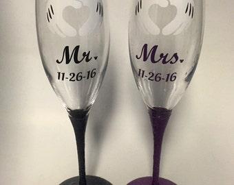 Mr. And Mrs. Disney inspired wedding champagne glasses set