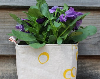 Fabric Basket/Box/Bucket/Storage/Hand Printed/Pure Linen