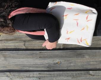 Shopping Bag/Tote/Shopper/Hand Printed/Pure Linen/Falling Leaves