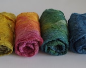Handpainted silk waste in rainbow colors for felting, spinning, fiber art and wool painting - tweed, texure, luxury