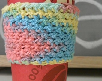 Multi-Colored Cup Sleeve, Crochet Coffee Cup Sleeve, Mug Cozy