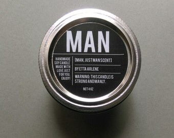 Man Scented Candle,Gift, Soy Candle, Man Candle by Etta Arlene
