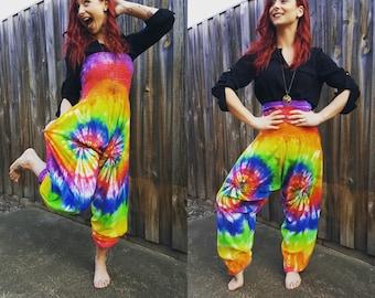 Rainbow Tie Dyed Harem Pants/Jumpsuit