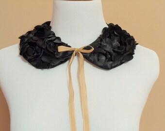 Peter Pan Detachable Collar, Black Rosette Faux Collar, Removable Vintage Style Collar