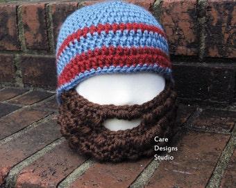 Crochet Beanie Hat with Beard Bearded Hat