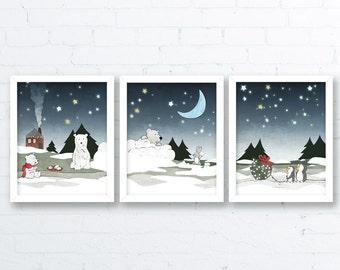 Winter Nursery Prints - SET of 3 - Penguins, Rabbits, Polar Bear Wall Art, Kids Room Illustration, Holiday Art Prints, Whimsical Nursery