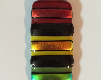 "Dichroic ""Reggae Music"" fused glass & 925 sterling silver pendant on cotton necklace or silver chain"