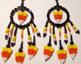 Beaded Candy Corn Earrings