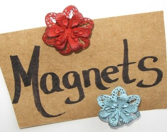 Magnets/Set of 4 Metal Floral Magnets/Red, Rusty Yellow, Coral-Orange, & Blue Metal Flower Magnets/Strong Hold/Great Gift