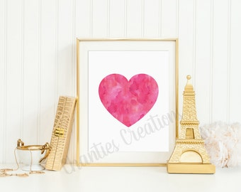 Pink Heart Watercolor Printable Wall Art 8x10