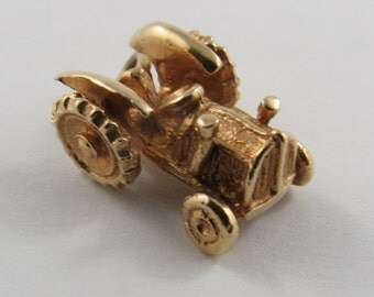Tractor 10K Gold Vintage Charm For Bracelet